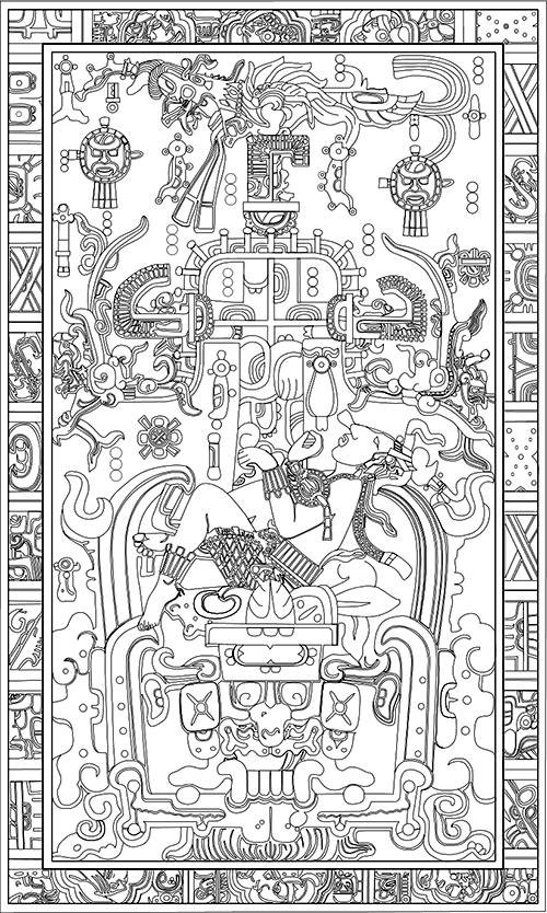 Carved lid of the tomb of K'inich Janaab Pakal I, the Great